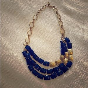 Stella & Dot - Blue and gold statement necklace